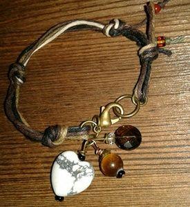 Ladies Bracelet on Hemp Twine Heart and Love Charm